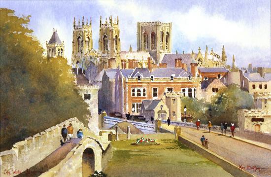 Ken Burton, Watercolour, City Walls, York Without frame image. Click to enlarge