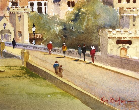 Ken Burton, Watercolour, City Walls, York Signature image. Click to enlarge