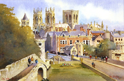 Ken Burton, Watercolour, City Walls, York
