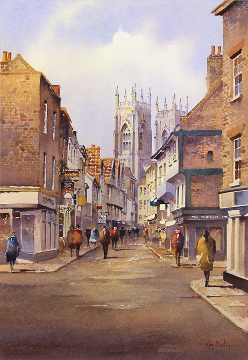 Ken Burton, Watercolour, Low Petergate, York