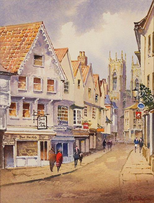 Ken Burton, Watercolour, Low Petergate, York Without frame image. Click to enlarge