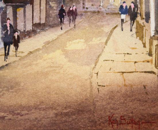 Ken Burton, Watercolour, Low Petergate, York Signature image. Click to enlarge