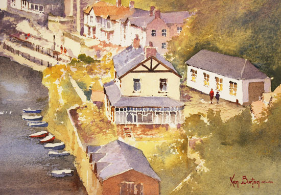 Ken Burton, Watercolour, Knaresborough, Yorkshire Signature image. Click to enlarge