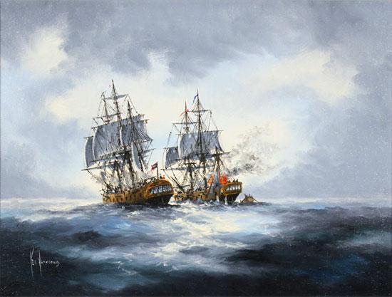 Ken Hammond, Original oil painting on canvas, Cannons Blazing