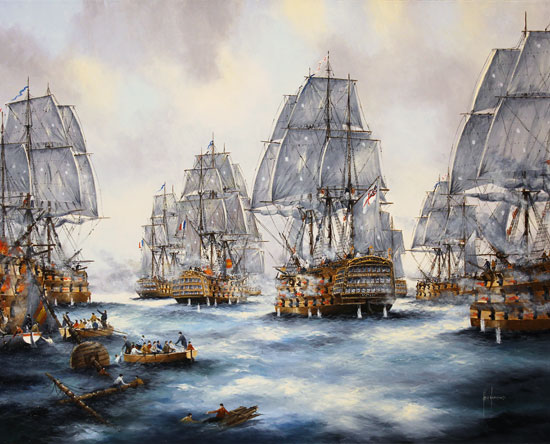 Ken Hammond, Original oil painting on canvas, Battle of Trafalgar Without frame image. Click to enlarge