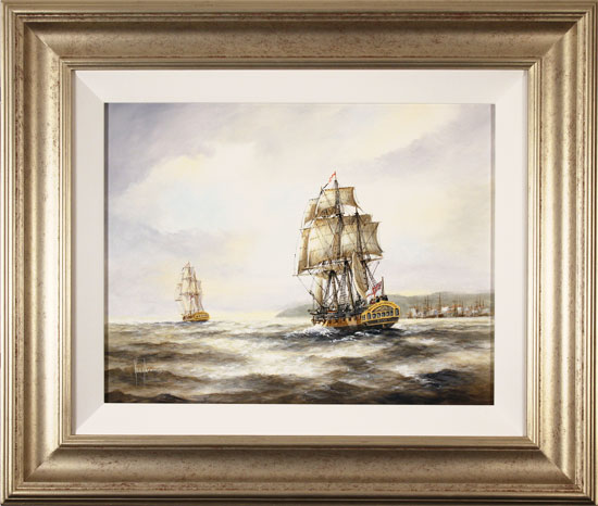 Ken Hammond, Original oil painting on canvas, HMS Rose Leaving Falmouth