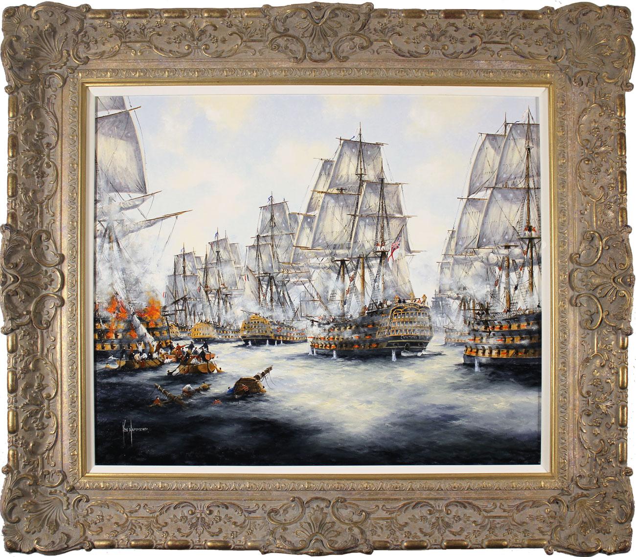 Ken Hammond, Original oil painting on panel, Battle of Trafalgar, 1805, click to enlarge