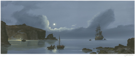 Les Spence, Signed limited edition print, Smuggler's Bay Without frame image. Click to enlarge