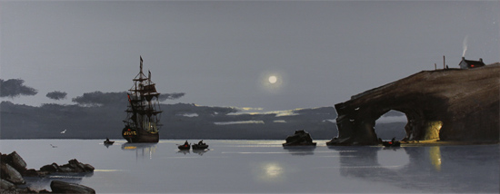 Les Spence, Original oil painting on canvas, Midnight Mooring Without frame image. Click to enlarge