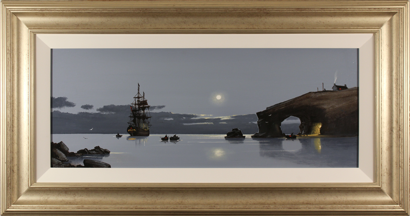 Les Spence, Original oil painting on canvas, Midnight Mooring. Click to enlarge