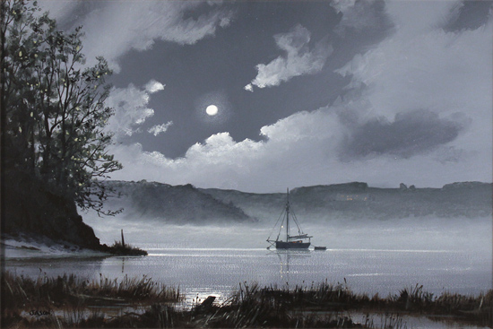 Les Spence, Original oil painting on canvas, Foggy Tides Without frame image. Click to enlarge