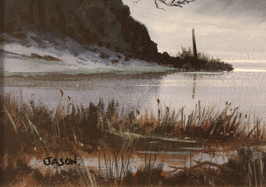 Les Spence, Original oil painting on canvas, Foggy Tides Signature image. Click to enlarge