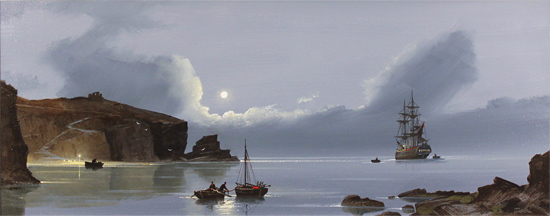 Les Spence, Original oil painting on canvas, Smuggler's Bay Without frame image. Click to enlarge
