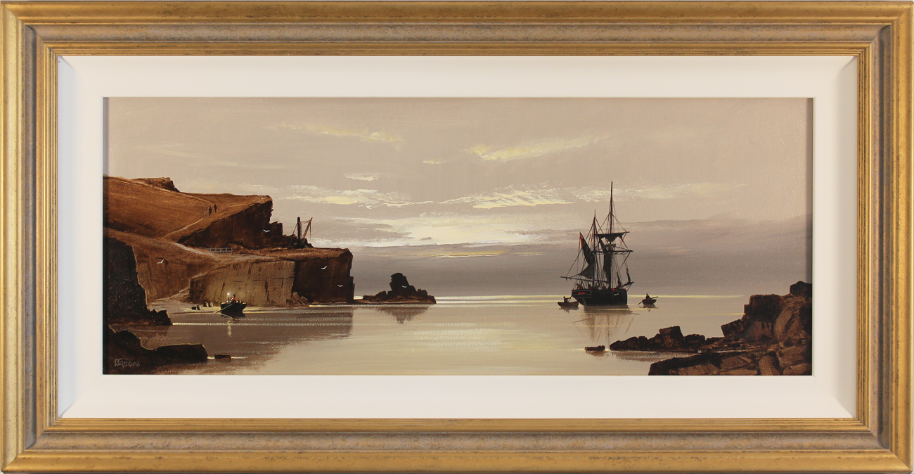 Les Spence, Original oil painting on canvas, Smugglers at Dawn, click to enlarge