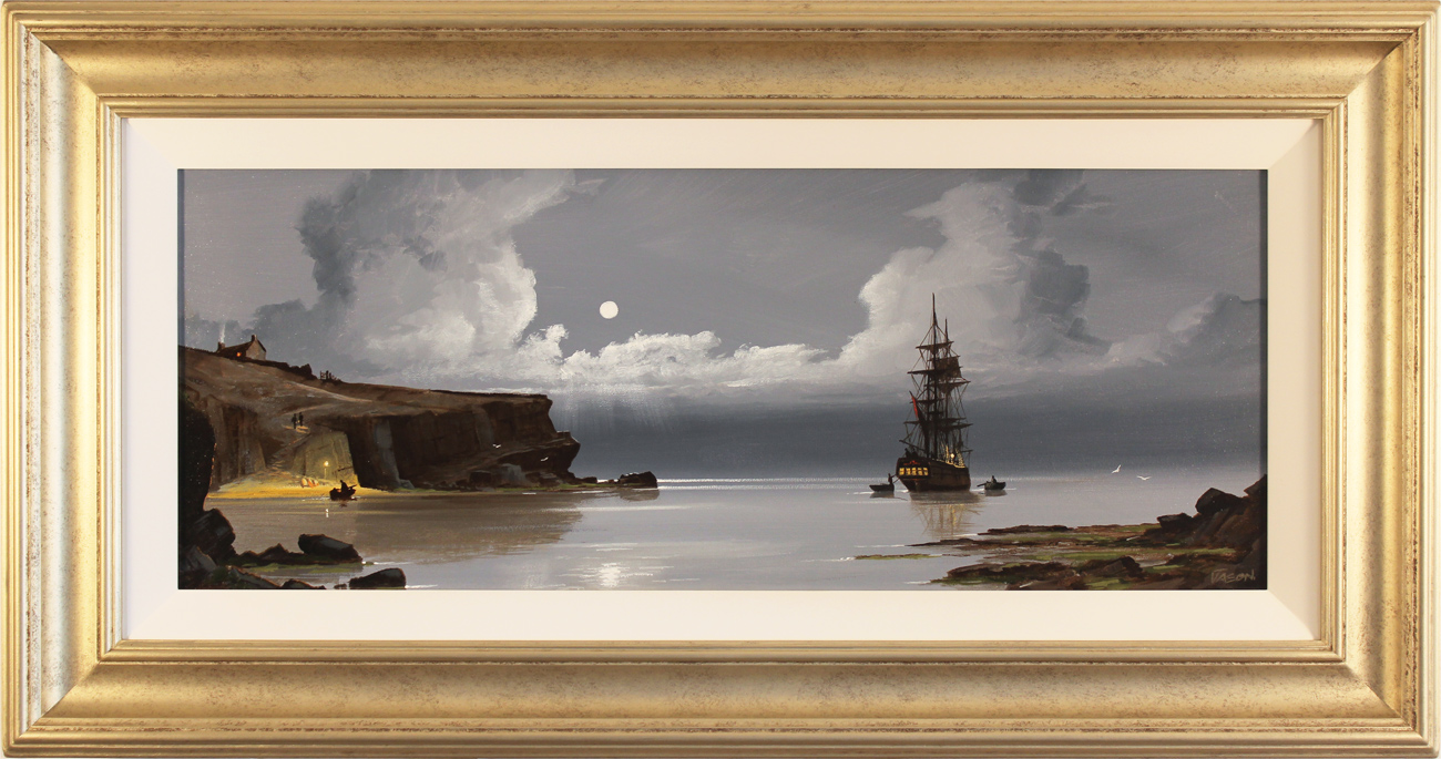 Les Spence, Original oil painting on canvas, Cliffside Mooring, click to enlarge