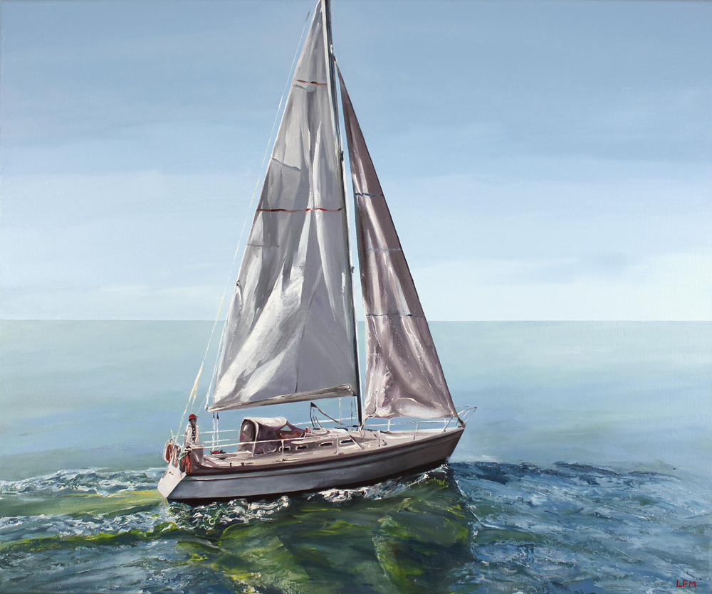Linda Monk, Original oil painting on canvas, Out to Sea. Click to enlarge