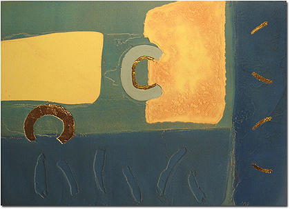 Mark Spain, Signed limited edition collagraph, Pool Side Without frame image. Click to enlarge