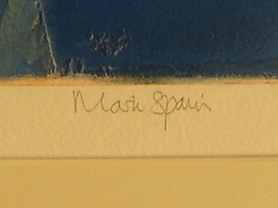 Mark Spain, Signed limited edition collagraph, Pool Side Signature image. Click to enlarge
