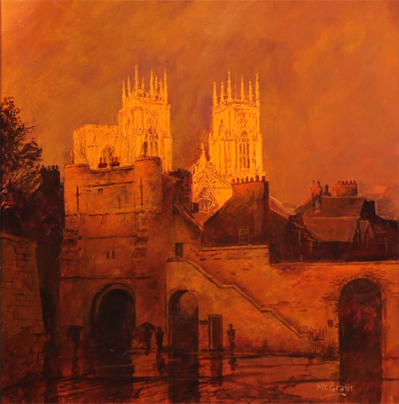 Stephen McGrath, Original oil painting on canvas, Sunset on The Minster, Bootham Bar, York Without frame image. Click to enlarge