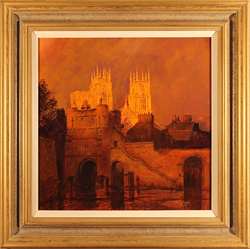 Stephen McGrath, Original oil painting on canvas, Sunset on The Minster, Bootham Bar, York Large image. Click to enlarge