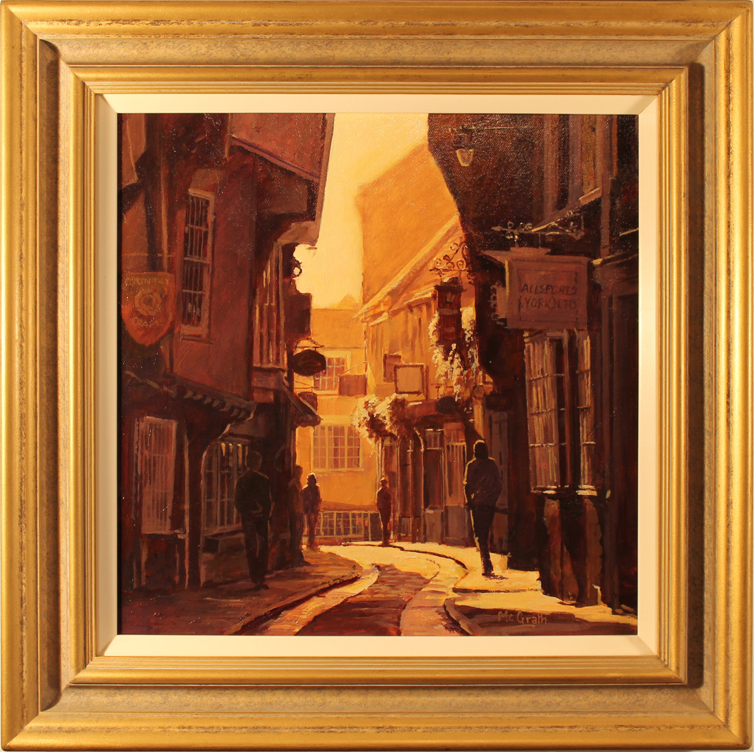 Stephen McGrath, Original oil painting on canvas, Sunlight Through the Shambles, York, click to enlarge