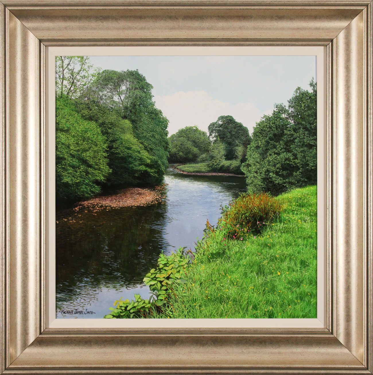 Michael James Smith, Original oil painting on panel, The River Wharfe, click to enlarge