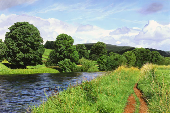 Michael James Smith, Original oil painting on panel, The River Wharfe No frame image. Click to enlarge