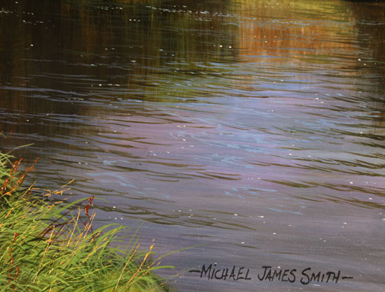 Michael James Smith, Original oil painting on panel, The River Wharfe, Yorkshire Signature image. Click to enlarge