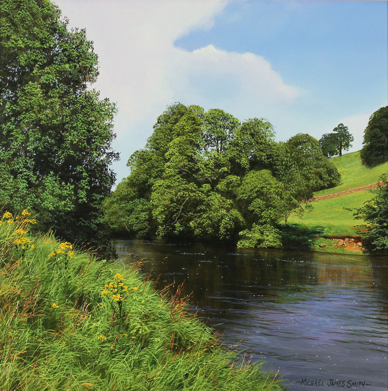 Michael James Smith, Original oil painting on panel, The River Wharfe, Yorkshire. Click to enlarge