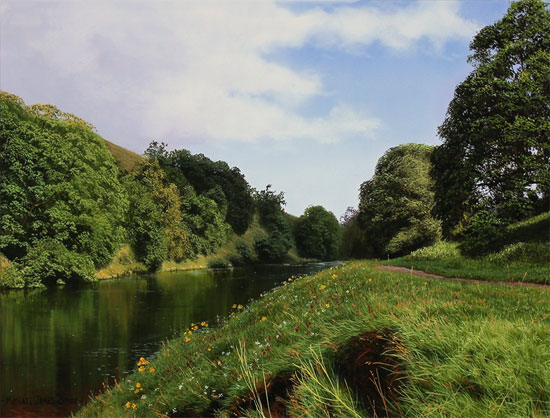 Michael James Smith, Original oil painting on panel, The River Wharfe Without frame image. Click to enlarge