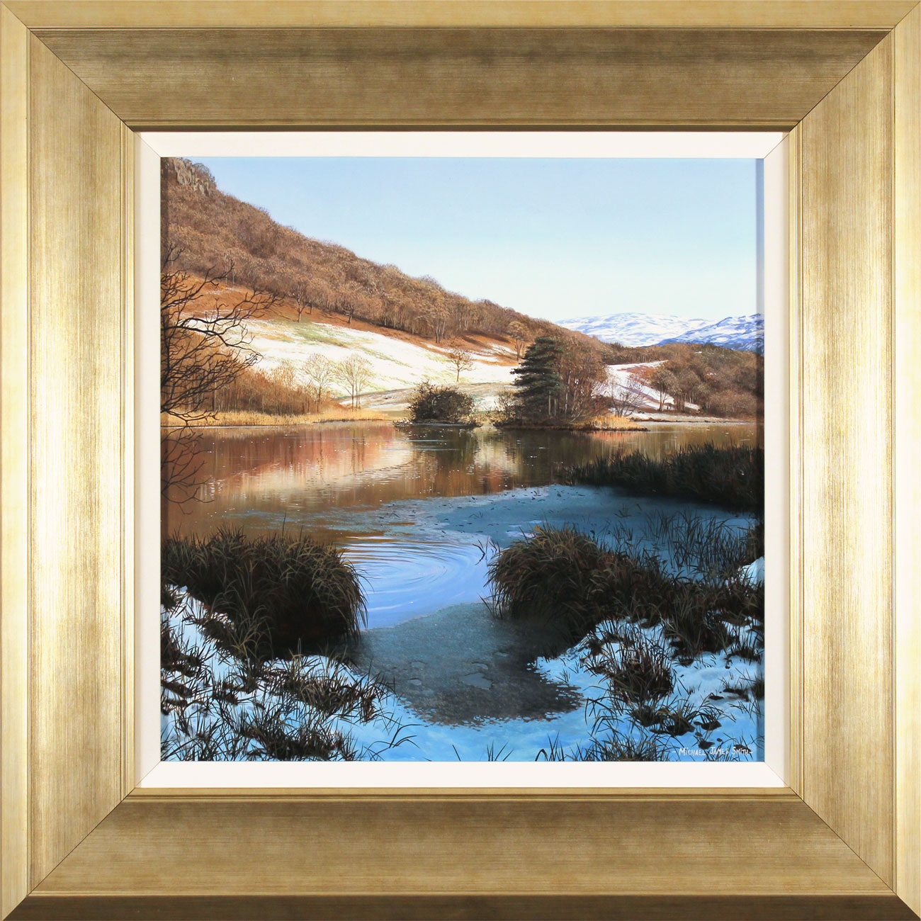 Michael James Smith, Original oil painting on panel, Snow in the Lakes, click to enlarge