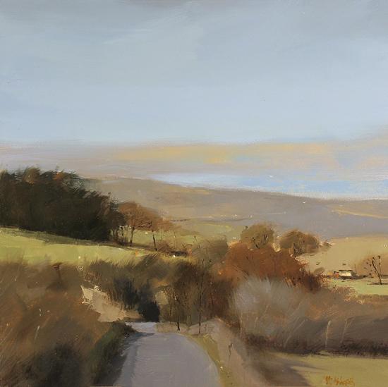 Michael John Ashcroft, MAFA, Original oil painting on panel, Moorland Pass