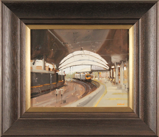 Michael John Ashcroft, MAFA, Original oil painting on panel, Train Approaching
