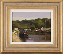 Michael John Ashcroft, MAFA, Original oil painting on panel, Evening Moorings