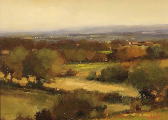 Michael John Ashcroft, AROI, Original oil painting on panel, On the Edge of Autumn Without frame image. Click to enlarge