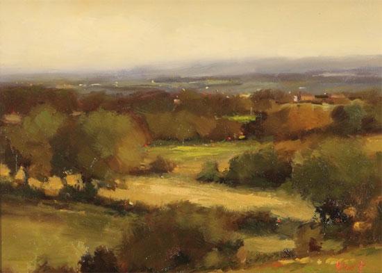 Michael John Ashcroft, MAFA, Original oil painting on panel, On the Edge of Autumn