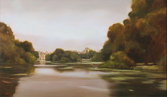 Michael John Ashcroft, MAFA, Original oil painting on panel, Evening Light, St James's Park, London No frame image. Click to enlarge