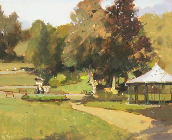 Michael John Ashcroft, AROI, Original oil painting on panel, Parklife  Without frame image. Click to enlarge