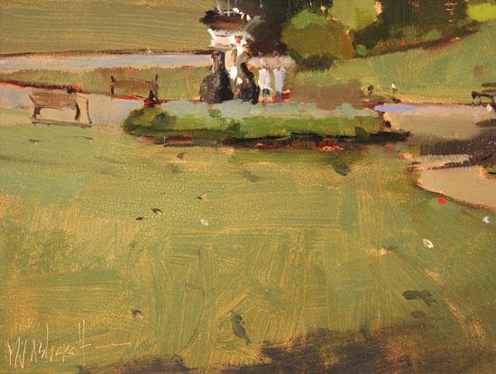 Michael John Ashcroft, AROI, Original oil painting on panel, Parklife  Signature image. Click to enlarge