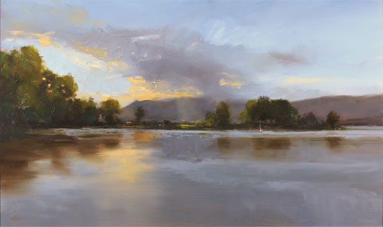 Michael John Ashcroft, AROI, Original oil painting on panel, Loch Lomond Without frame image. Click to enlarge