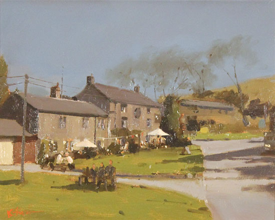 Michael John Ashcroft, AROI, Original oil painting on panel, A Pint at the Lister Arms, Malham, Yorkshire Without frame image. Click to enlarge