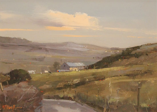 Michael John Ashcroft, AROI, Original oil painting on panel, Road to Harrogate Without frame image. Click to enlarge