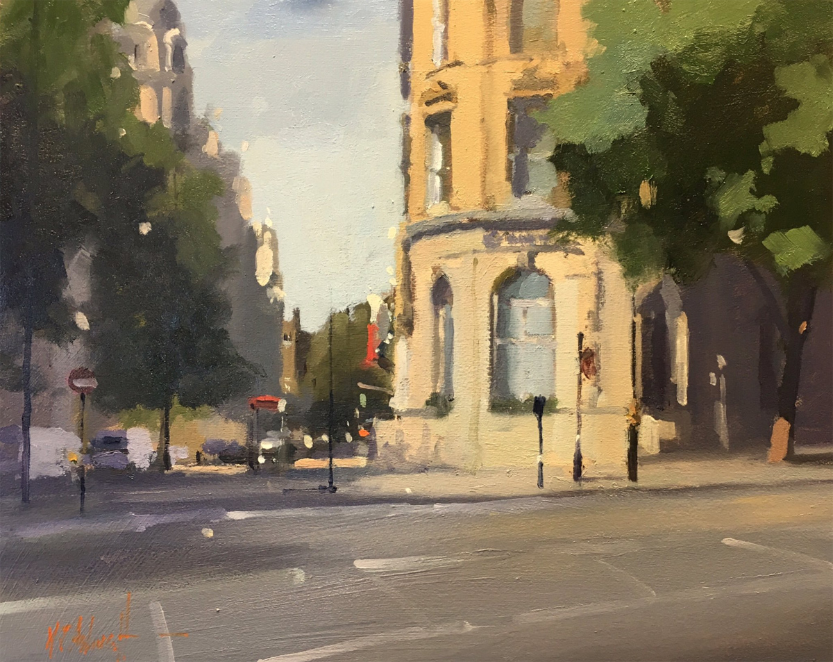 Michael John Ashcroft, ROI, Original oil painting on panel, Corinthian Hotel, London, click to enlarge