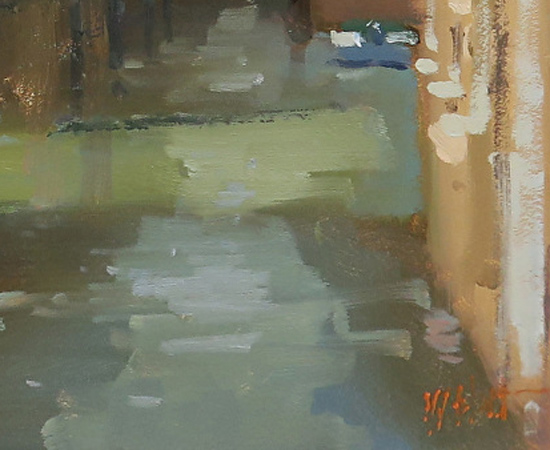 Michael John Ashcroft, AROI, Original oil painting on panel, A Venice Canal Signature image. Click to enlarge