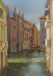 Michael John Ashcroft, AROI, Original oil painting on panel, A Venice Canal