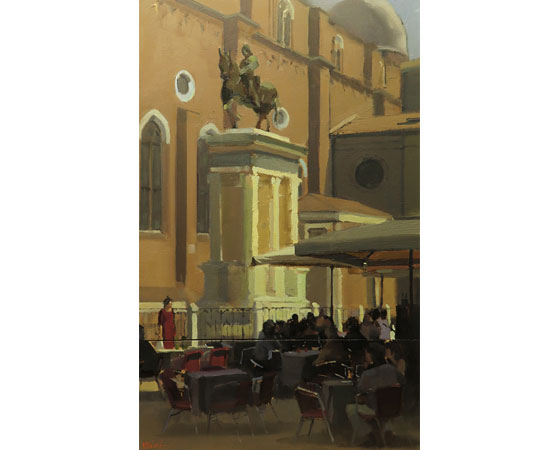 Michael John Ashcroft, AROI, Original oil painting on panel, Campo S Giovanni, Venice Without frame image. Click to enlarge
