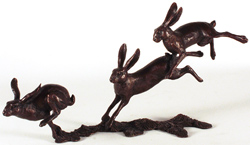 Michael Simpson, Bronze, Small Hares Running Large image. Click to enlarge