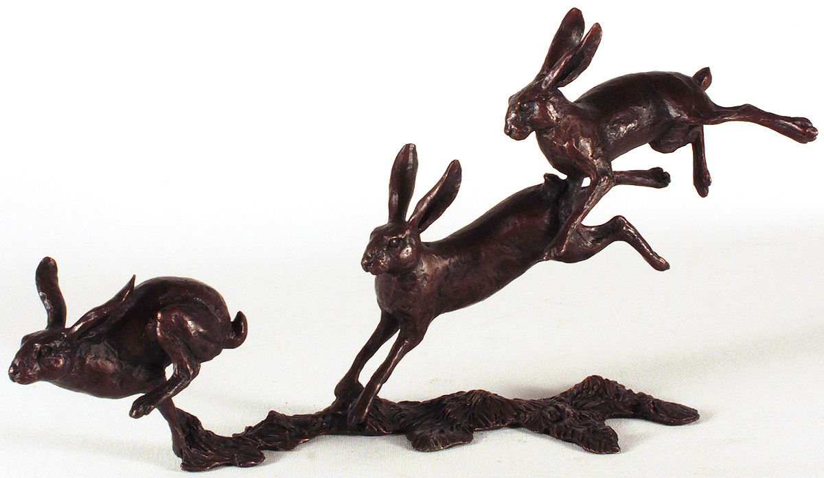 Michael Simpson, Bronze, Small Hares Running. Click to enlarge