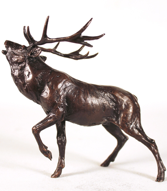 Michael Simpson, Bronze, Stag Roaring No frame image. Click to enlarge