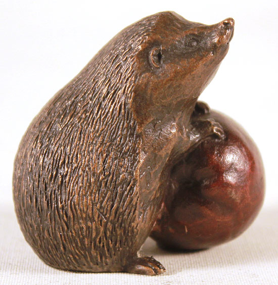 Michael Simpson, Bronze, Hedgehog with Apple Signature image. Click to enlarge
